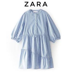 NWT Zara Girls Striped Blue Shirt Dress
